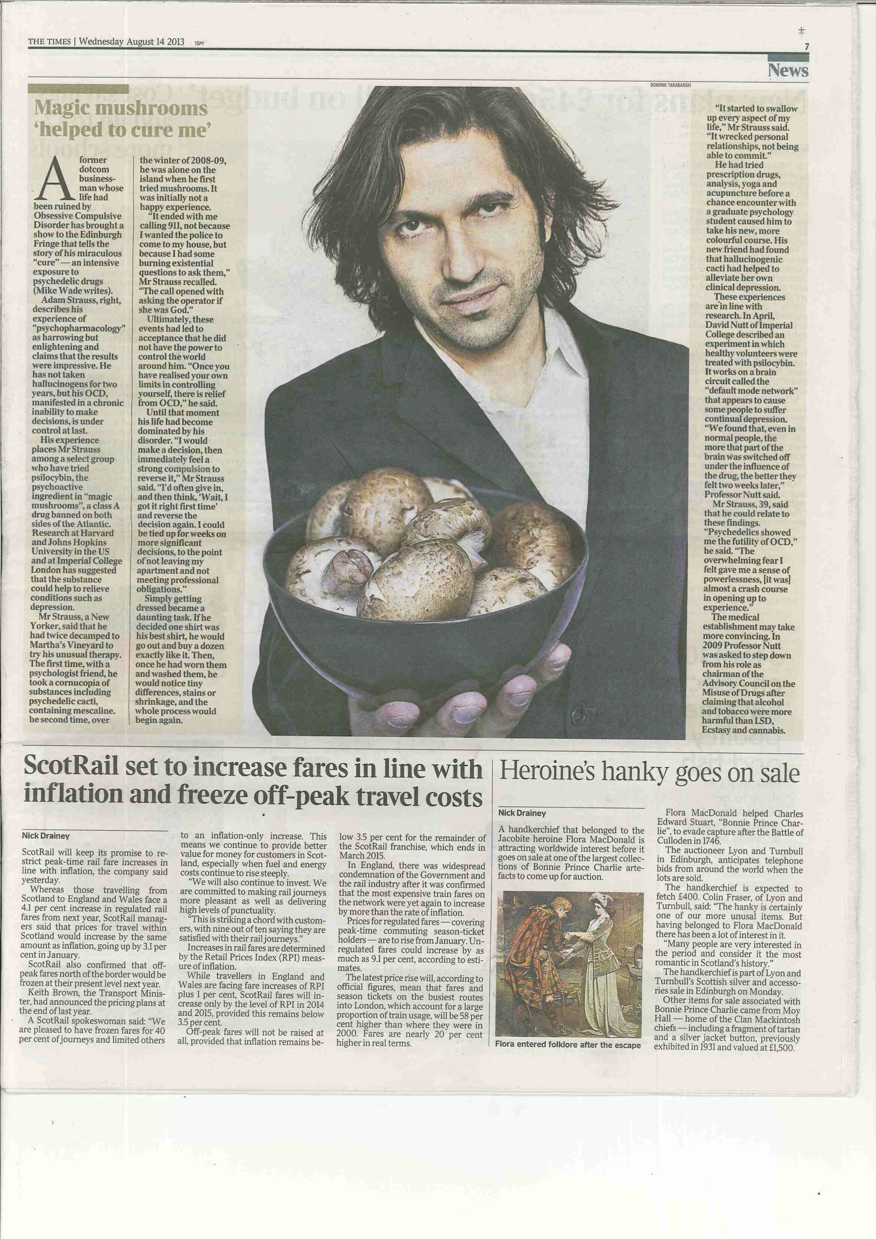 Feature on The Mushroom Cure in the Times (UK) - August 14th 2013